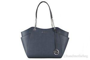 Michael Kors Jet Set Leather Large Chain Shoulder Tote Bag Purse Handbag