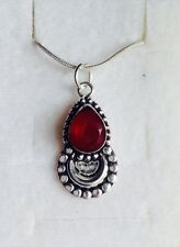 New Rare Beautiful Ruby 925 Silver Pendant And Chain