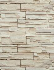Wallpaper Faux Stacked Stone Brick Rock Tan Beige Heavy Duty Textured Vinyl