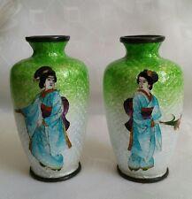 Superb pair of Japanese Meiji Cloisonne Ginbari miniature vases Geishas