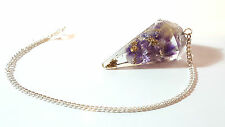 Faceted ORGONE Healing Amethyst Crystal & Gold Colour Metal  Dowsing Pendulum h4