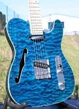 Weller Telestar, Quilted Maple, Maple Neck, Strings Thru body, f Hole, azul