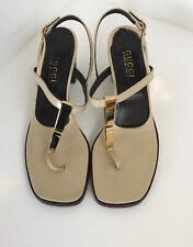 Gucci Beige Block Heel Strappy Sandal Size 40.5