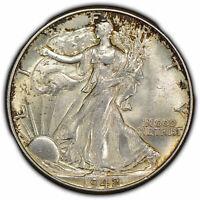 1942 50c Walking Liberty Half Dollar - Luster - Original Toning - Y1090