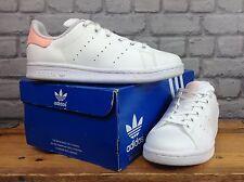 Adidas UK 4 EU 36 2/3 Blanco Melocotón Stan Smith zapatillas Para Niñas Damas Para Niños