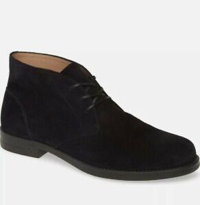 Salvatore Ferragamo Sachie 2 Dark Blue Suede Leather Chukka Boots 11.5 E Wide