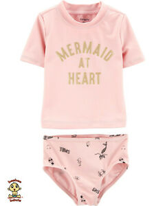 Carter's 2-piece Rash Guard Set 12 months Mermaid design Authentic & Brand New