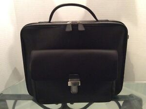 BALLY Briefcase Computer Case Smooth Black Calf Leather VIntage Authentic