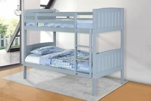 Hayes Solid Wood Single Bunk Bed Grey - BRAND NEW