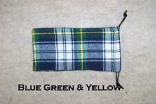 Pipe Sock Plaid Flannel Drawstring Bag Blue Green & Yellow #5