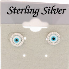 CUTE EVIL EYE STUDS EARRING SILVER  EVIL EYE TRENDY STUDS MOTHER OF PERAL