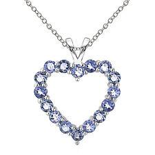 925 Sterling Silver 2ct TGW Tanzanite Open Heart Necklace