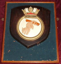 HMS OPOSSUM..LARGE CREST ON A WOODEN BOX WITH A MIRROR INSIDE SUBMARINE RN NAVY