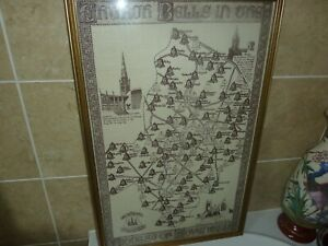 73.5CM BY 46CM LINEN MAP OF CHURCH BELLS DIOCESE OF COVENTRY- BELL RINGERS FUND