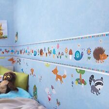 WOODLAND CREATURES WALLPAPER BORDERS - RASCH 287646 - BLUE NEW ROOM DECOR