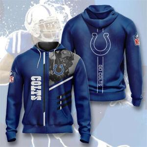 Indianapolis Colts Hoodie Football Zipper Sweatshirt Casual Sports Hooded Jacket