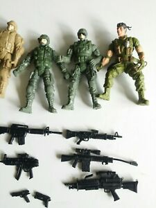 Lot Of Army Special Forces Military Toy Bendable Action Figures And Guns