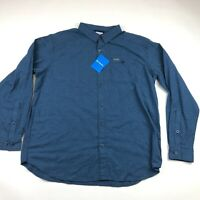 Columbia Mens Blue Flannel Long Sleeve Shirt Size XL NEW