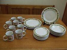 Pine Cones Stoneware Dish Set ~ 28 Piece Set ~ Plates Bowls Cups
