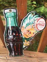 "Vintage Coca Cola Die Cut Sprite Boy Heavy Porcelain Sign Cola Soda Sign 12"""