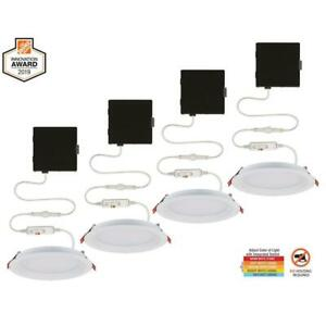 Commercial Electric Recessed Lighting LED Kits Slim Baffle 4-Inch (4-Pack)
