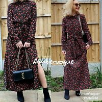 ZARA BLACK POLKA DOT FLORAL PRINTED LONG SHIRT DRESS BELTED SIZE XS / M / L / XL