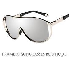 Luxe di design argento a specchio SCUDO Occhiali da Sole Sci Miami .52
