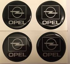 OPEL GM ALLOY WHEEL CENTRE DOMED STICKERS X4 CORSA ASTRA INSIGNIA Black Sil 60mm