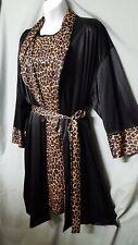 "WILLOW RIDGE Leopard Sleeveless Nightgown Robe Black Tan Large Gift  44"" BUST"