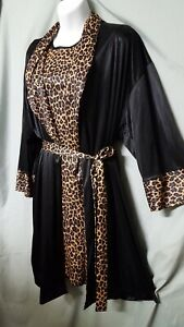 "WILLOW RIDGE Leopard Sleeveless Nightgown Robe Black Tan X-Large Gift  46"" BUST"