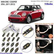 15 Bulbs Deluxe LED Interior Light Kit White For R56 2011-2013 MINI ONE / COOPER