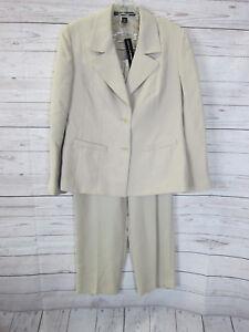 Linda Allard Ellen Tracy Petite Women's Taupe Dress Suit Jacket Pants Size 12P