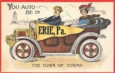 """""""You Auto Be in"""" Erie Pennsylvania~The Town of Towns~Couple & Dog in Car~Pennant"""