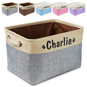 Personalized Pet Toy Basket Storage Canvas with Name Dog Cat Accessory Bin Box