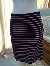 79702d7a43 NWT Talbots Navy Blue Pink Striped Stretch Pencil Skirt Preppy 69$ 2 Petite
