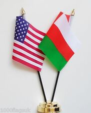 United States of America & Oman Double Friendship Table Flag Set