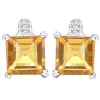 Ohrringe/Ohrstecker Leonora, 925er Silber, 3,03 Kt. echt Mandarin Citrin/Diamant