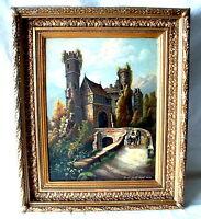 Burgromantik signiert und Datiert Prof . Dr H.Möhl 1896 zur Silb.Hochzeit