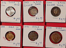 6 Lot India Silver Indian Asia Coin Collection Paise Rupee Anna British WWII WW2