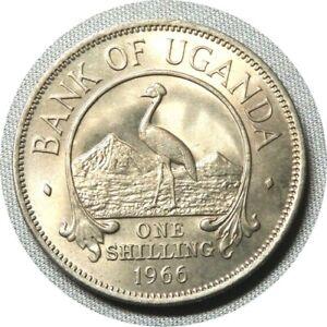 elf Uganda 1 Shilling 1966 Crowned Crane Bird