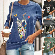 Womens Long Sleeve Lovely Cat Print T Shirt Loose Crew Neck Casual Tops Blouse