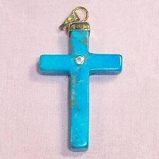 Stone cross pendent w rhinestone howlite rock dyed turquoise blue B45