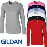 GILDAN LADIES WOMEN LONG SLEEVE T-SHIRT TOP 100% SOFT COTTON CASUAL BASIC PLAIN