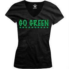 Go Green Recycle Environment Earth Day Climate Conserve Juniors V-Neck T-Shirt