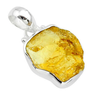 925 Sterling Silver 10.65cts Yellow Citrine Rough Fancy Pendant Jewelry T31143