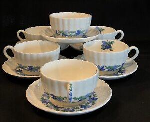 Copeland Spode VALENCIA Tea Cup Saucer set of 6 England Grape Green Blue 12 pcs