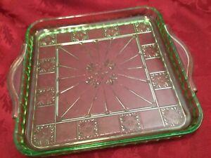 green depression glass platter flower pattern and handles