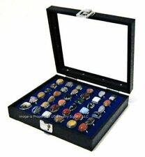 1 Wholesale Glass Top Lid Blue 36 Ring Display Portable Sales Storage Box Case