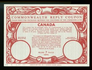 CANADA - Type XIX - 7 CENTS - Commonwealth Reply Coupon Reponse IRC