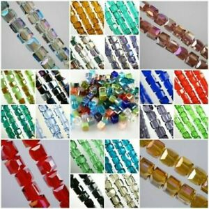 Wholesale 6MM Charms Swarovski Crystal Faceted Cube Square Loose Spacer Bead